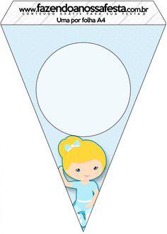 Bandeirinha Varalzinho Bailarina Loira Poá Azul:
