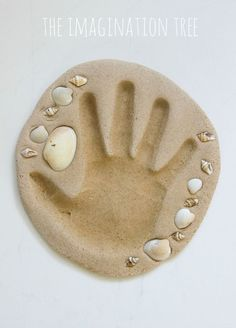 Sand Clay Recipe and Handprint Keepsakes – The Imagination Tree HOW TO MAKE OUR SAND CLAY RECIPE: 2 cups sand 1 cups plain flour 1 cup warm water 1 cups salt Mix together a large bowl and slowly add the warm water, with a large spoon. bake 175 for hours Vbs Crafts, Sand Crafts, Clay Crafts, Arts And Crafts, Diy Clay, Flour Crafts, Crafts With Seashells, Seashell Crafts Kids, Nature Crafts