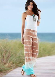 LUV that Linen Print Drawstring Pants.................