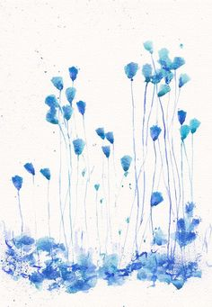 Art Painting - Original watercolor flower 8x11, floral decor, summer home decor illustration - Blue turquoise Abstract Flower  wall decor