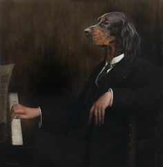 Dog playing piano