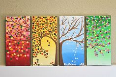 Beautiful picture for describing seasons :) Chrissy - thought of you! Auction Projects, Art Projects, Art Auction, Button Art, Button Crafts, Art Classroom, Art Club, Art Plastique, Teaching Art