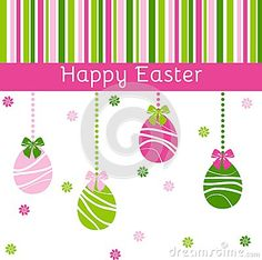 Happy Easter card in green and pink colors