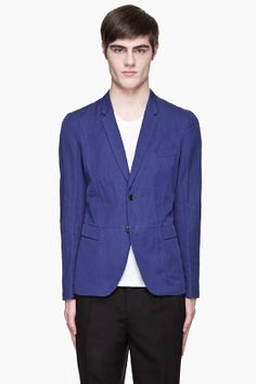 Paul Smith Royal Blue Cotton Two-button Blazer for men Blue Blazer Outfit, Blazer Outfits, Look Cool, Cool Style, My Style, Fashion Catalogue, Raf Simons, Blazers For Men, Blazer Buttons