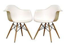 Amazon.com - Baxton Studio Fiorenza White Plastic Armchair with Wood Eiffel Legs, Set of 2