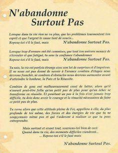 #POEME --N'ABANDONNE SURTOUT PAS !