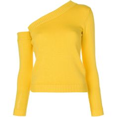 Miahatami asymmetric style sweater (709 CAD) ❤ liked on Polyvore featuring tops, sweaters, long sleeve tops, yellow long sleeve top, asymmetric tops, long sleeve asymmetric top and extra long sleeve sweater