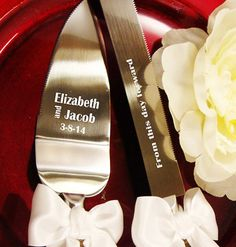Etching Upgrade - Add Engraving to your Wedding Cake Knife Server Set on Etsy, $18.42 CAD