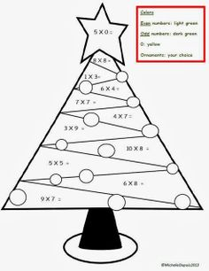 Christmas Worksheets Also Math Worksheet Tree Multiplication Coloring Sheet Trees
