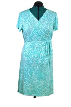 Retro Teal Knit Wrap Dress     #PlusSizeDress #AquaWrapDress #PlusSize #AquaKnitDress #KnitDress #RetroStyle #WrapDress