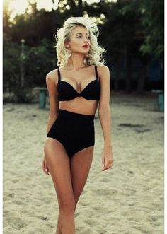 Black high waisted vintage inspired swimsuit by Addabitofsparkles