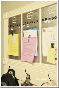 Magnetic Organizational Boards above coat hooks in Mud Room. Personalize for each. Days of the week with activities underneath. Have magnetic clips to hang homework, assignments & whatever else child will need and/or parents need to review.