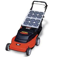 Solar Powered Lawn Mower Eco Friendly Benefits 1) uses solar power to mow (no gas or non-renewable resources needed) 2) Made out of recycled metal 3) Made in the US (less shipping and gas used)