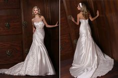 This is a gorgeous mermaid gown by Impressions Bridal. It has a  unique lace that will definitely turn heads!