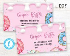 Donut Diaper Raffle, Donut instant download party label, You print birthday diaper raffle, Donut DIY party banner Donut Diy, Diy Donuts, Party Labels, Party Printables, Diy Party Banner, Pack Of Diapers, Diaper Raffle, Birthday Celebration, First Birthdays