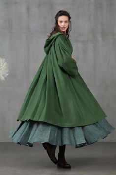 Someone like you 11 Green Wool Coat, Hooded Wool Coat, Cashmere Coat, Linen Dresses, Coat Dress, Winter Coat, Flare Dress, Dress To Impress, Casual Wear