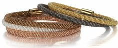 """5mm Mesh Bracelets in Sterling Silver - Many Colors  Sterling silver mesh bangle bracelets from Italy. (143FD01B-Y) 7"""" introductory price of $129 each. Stacked mesh bracelets"""