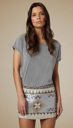 mini sparkle skirt and casual top. Skirt just needs a few more inches for me :)