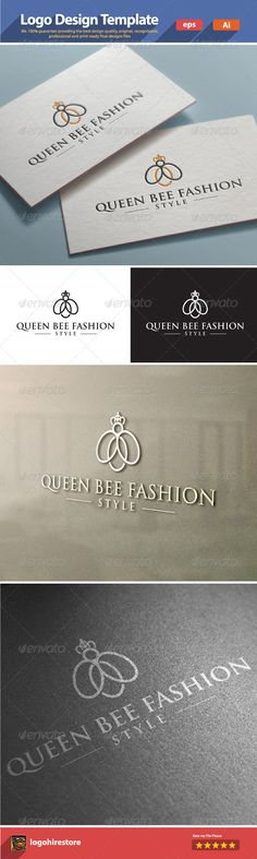 Queen Bee Fashion #GraphicRiver Queen Bee Fashion logo template, an excellent logo template suitable for any business, especially for fashion companies. We 100% guarantee providing the best design quality, original, recognizable, professional and print ready final designs files. 100% vector. free font: .ffonts /Trajax.font Feature: Ai CS4/CS | eps ilustrator 10/CS | B/W version If you need he