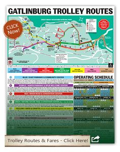 Explore the Smokies with this Smoky Mountains map. Get information with a Gatlinburg map, Pigeon Forge map and more. Take a ride on the Pigeon Forge trolley during your vacation.