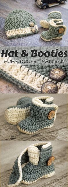 Best Baby Patterns haken Adorable crochet pattern set for baby hat and booties.Best Baby Patterns haken Adorable crochet pattern set for baby hat and booties. I love the cute button closure for the booties! Crochet Baby Hat Patterns, Crochet Baby Boots, Crochet Slippers, Baby Blanket Crochet, Crochet Ideas, Crochet For Baby, Crocheted Baby Hats, Crochet Baby Stuff, Crochet Baby Beanie