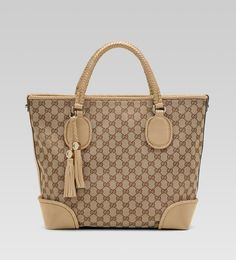 'marrakech' medium tote with woven leather trim and tassels with Medium Tote, Gucci Handbags, Marrakech, Louis Vuitton Damier, Pattern, Leather, Tassels, Heaven, Fashion