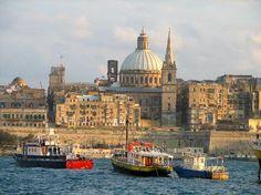 Valletta at dusk viewed from Sliema Creek