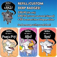 I just started doing these HERRO DERP badges again! If you are interested send a message! No complaints please: if you don't have money save up!  #wolf #animalart #cartoon #fursona #vectorart #derp #badge #conbadge #commissions #furryart #furrybadge #crazdudecommissions