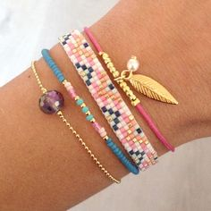 Mint15 bracelets | small stacking bracelets in turquoise, pink, and gold