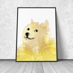 Doge Meme poster watercolor illustration giclee art print by RNDMS Watercolor Illustration, Digital Illustration, Doge Meme, Nerdy Things, Pigment Ink, All Print, Living Spaces, Fine Art Prints, Geek Stuff