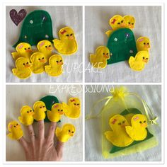 Five Little Ducks Finger Puppet Set - - Comes with Carrying Case - Quiet Time Play Toy - Yello Glove Puppets, Felt Finger Puppets, Toddler Crafts, Crafts For Kids, Arts And Crafts, Little Duck, Five Little, Frog Crafts, Puppet Patterns