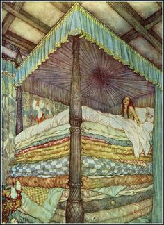 Princess and the Pea (The Real Princess) - 1911 - Edmund Dulac illustration to the Princess and the Pea fairy tale by Hans Christian Andersen - Style: Art Nouveau Edmund Dulac, Art And Illustration, Princess Illustration, Book Illustrations, Hans Christian, Princess And The Pea, Real Princess, Arthur Rackham, Alphonse Mucha