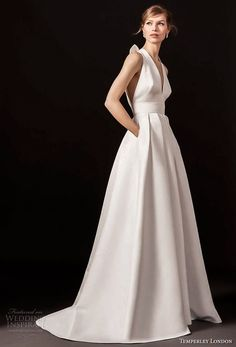temperley london spring 2018 sleeveless halter v neck simple clean a line wedding dress with pockets strap back sweep train (octavia) mv -- Temperley London Spring 2018 Wedding Dresses