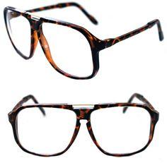 b88f744fbd Men s Hip Hop 80 s Vintage Clear Lens Eye Glasses Gazelle Large Square Shape