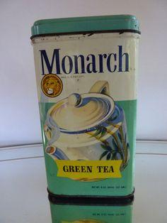 Vintage 1950's Monarch Green Tea Tin 8 oz Vintage Advertising