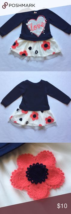 ⭐️HOST PICK⭐️Healthtex Sweatshirt Tutu Dress 3T Super cute, great condition! Worn twice. Layered tutu skirt with embroidered flowers. Lined. Comfy sweatshirt top with glittery love ❤️ print. Healthtex 3T. Healthtex Dresses Casual