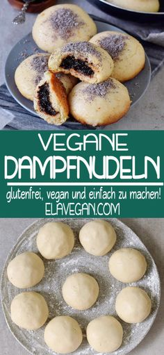 VEGAN STEAM NOODLES (GERMKNÖDEL) - Delicious gluten-free and vegan steamed noodles (better known as Germ dumplings in Austria). This delicious dessert is filled with plum jam and served with poppy seed sugar and vanilla sauce. Donut Recipes, Baking Recipes, Köstliche Desserts, Moist Cakes, Sans Gluten, Gluten Free, Food Inspiration, Couscous, Vegetarian Recipes