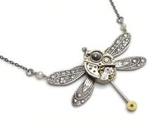 Steampunk Necklace antique silver Bulova watch movement gears circa 1940 ruby jewels floral motif dragonfly with genuine pearls swarovski crystal stone and vintage chain pendant