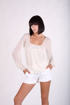 Vintage Style Silk Chiffon Cream Blouse with Long by sophiebrady, $62.00