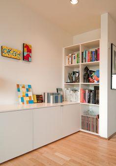 Built-in bookshelves in the Park Modern Building.