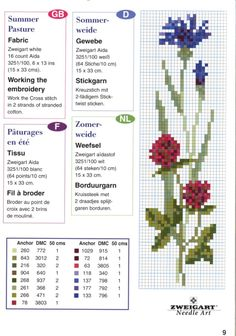 fiordalisi e di campo Cross Stitch Boards, Cross Stitch Bookmarks, Mini Cross Stitch, Cross Stitch Flowers, Counted Cross Stitch Patterns, Cross Stitch Embroidery, Hand Work Embroidery, Simple Embroidery, Flower Chart