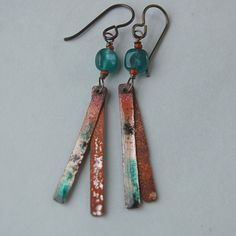 Aqua Fluorine and Torch Fired Enameled Copper Stick Earrings on Etsy, $34.00