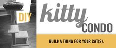 dadand.com presents...  Build a DIY Cat COndo, Kitty Tower, Scratching Post, Cat Tree