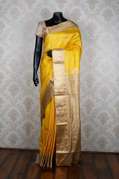 #Yellow & dull #gold pure #silk evergreen #saree with yellow & dull gold border -SR13279