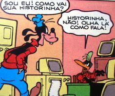 Pateta pergunta sobre o romance que Amadeu escreve, ilustração de Walt Disney.