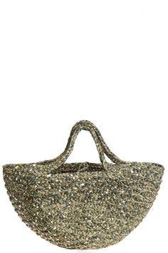 Olive raffia bag with gold sequins