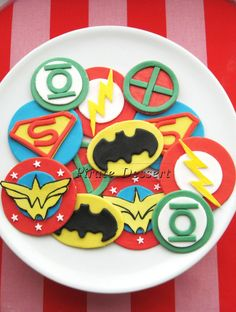 Justice League Edible SUPERHERO Cupcake Toppers -  Super Hero cupcakes -  Fondant cupcake toppers - COMIC BOOK Cupcakes (12 pieces). $28.00, via Etsy.