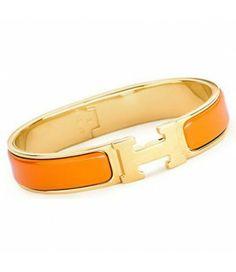 Hermes Signature Enamel Clic H Narrow Bangle Bracelet Orange Gold Hermes H  Bracelet, Jewelry Bracelets 41e98848b5d