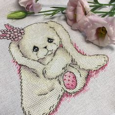 "Finished work by pattern ""Bunny Princess Pink"" #sa_stitch #sa_pattern #pattern #crossstitch"