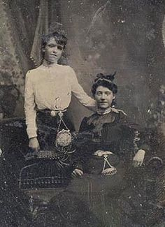 Photograph Of Two Victorian Women Wearing Chatelain Purses